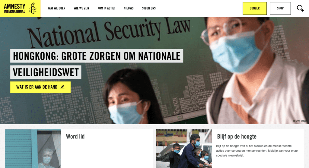 Amnesty International - Go2People Websites  - Top 10 mooiste websites van Nederland anno 2020