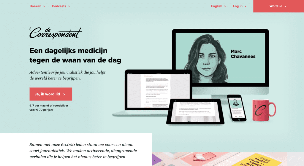 De Correspondent - Go2People Websites  - Top 10 mooiste websites van Nederland anno 2020