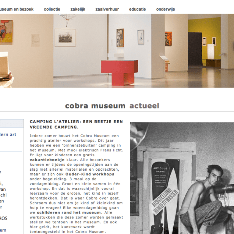 Website Cobra Museum home pagina