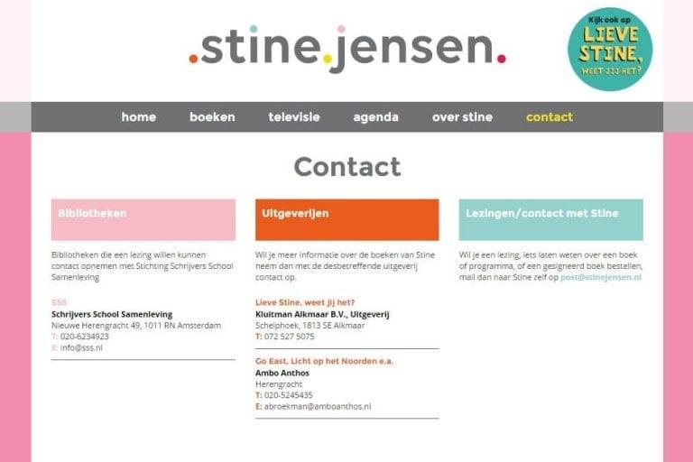 Contactpagina Stine Jensen