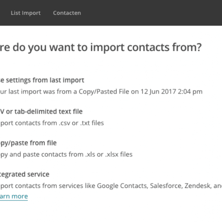 Mailchimp Importeren