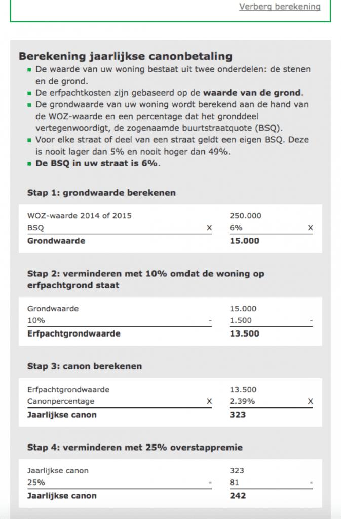 Berekening canon Gemeente Amsterdam
