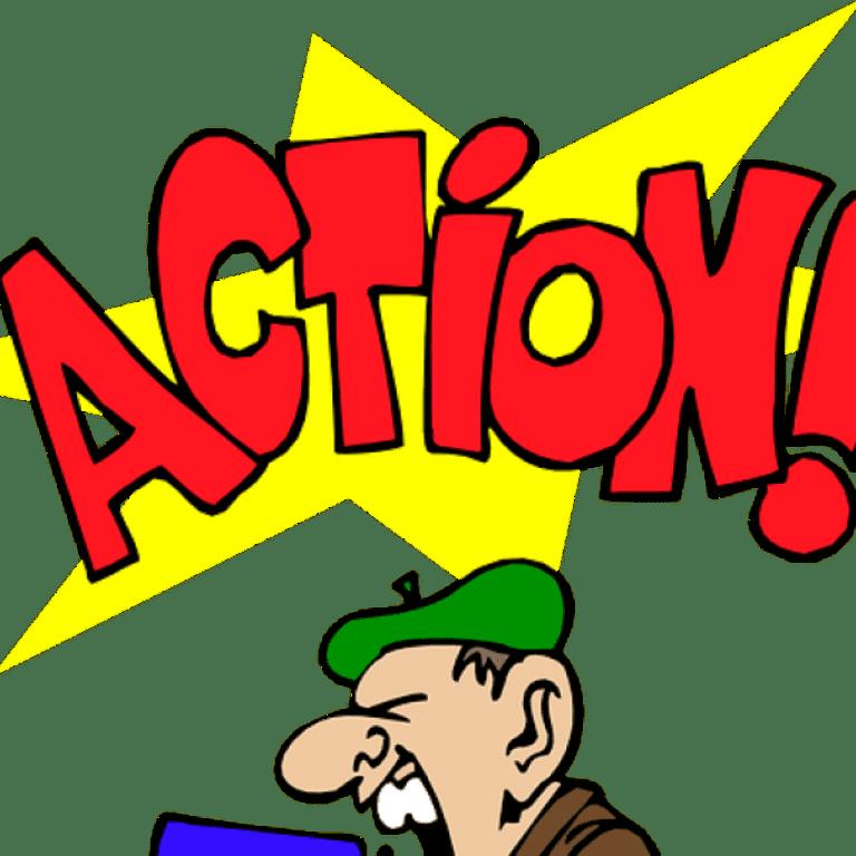 Cartoon die schreeuwt action