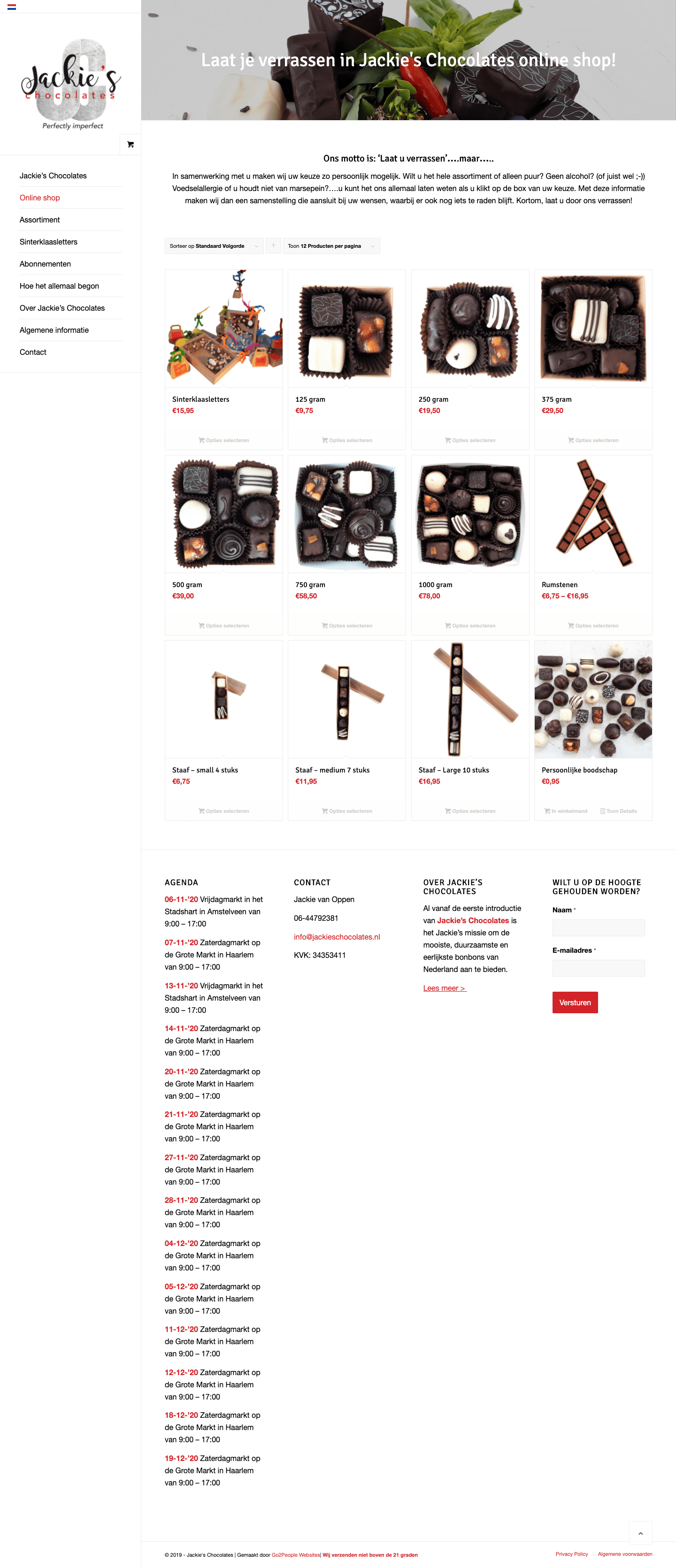 Jackie's Chocolates webshop | Go2People Websites