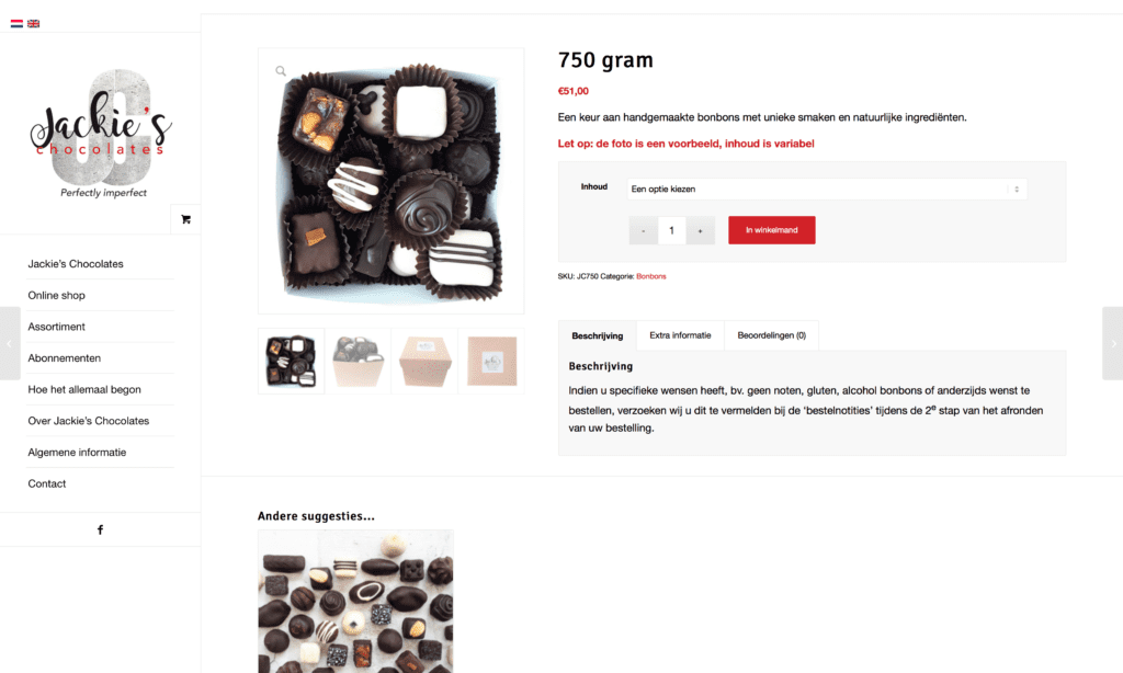 Webshop Jackie's Chocolates