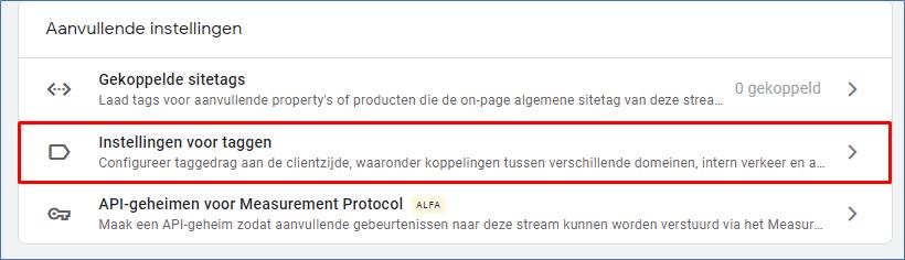 Google Analytics 4.0 17 Instellingen voor taggen  - Go2People Websites BV