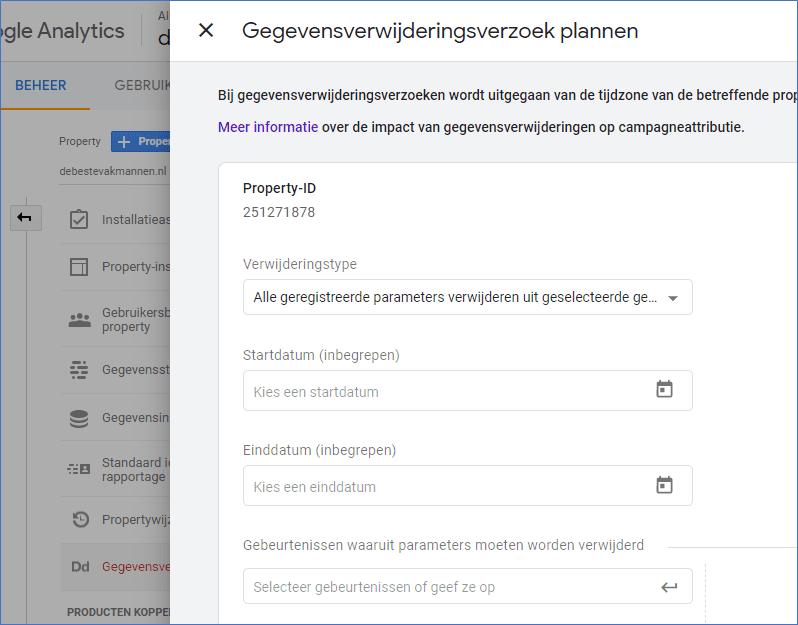 Google Analytics 4.0 5 Verwijderingsverzoek plannen - Go2People Websites BV