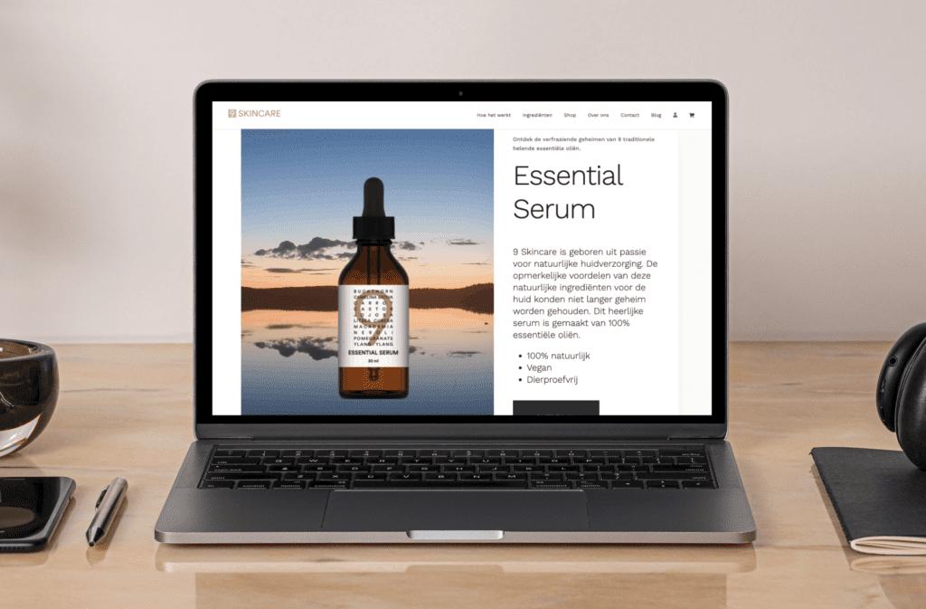 9Skincare Macbook mockup | Go2People Websites