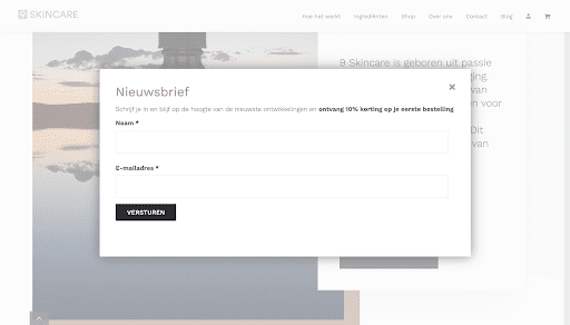 9Skincare nieuwsbrief pop-up | Go2People Websites